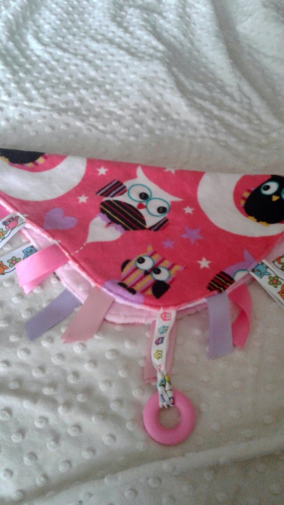 Owl Baby Tag Blanket, Handcrafted, Pink Owls, Sensory Blanket, Lovey, Minky Tag Blanket, Teething blanket, Ribbon Tags