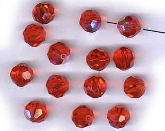 vintage swarovski crystal beads HYACINTH orange 10mm AB FOURTEEN sparkling bunch of crystal beads