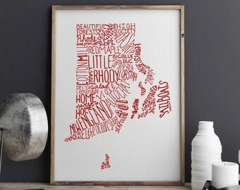 COLOR State of Rhode Island Typography Print; Christmas Gift; Wall Art and Decor; Wedding Anniversary Graduation Gift