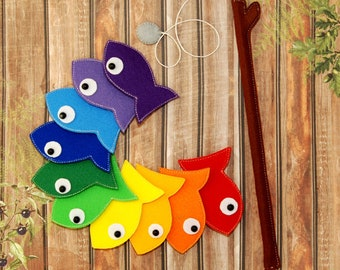 Rainbow Felt Magnetic Fishing Game, Kids Magnet Fish Set, Developing Magnet felt fish, Eco friendly game for imaginative play, quiet toy