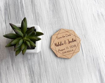 Wedding save the date magnet, Wedding invitation, Geometric save the date, Wedding announcement, Wooden save the date, Modern wedding magnet