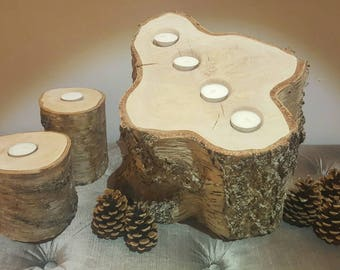 Rustic Natural Silver Birch Wood Multi-Tea Light Candle Holder Stand