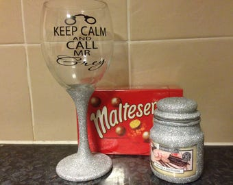 Hand Glittered Silver Mr Grey Wine Glass / Candle / Hamper  (Fifty Shades of Grey)