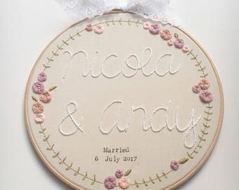 Hand Embroidered 8 inch Wedding Hoop - Wedding Gift - Wedding Decoration