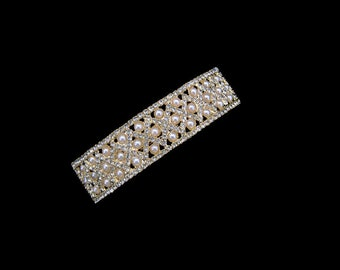 Faux Pearl And Crystal Curved Rectangular Square Shape Large Barrette Hair Clip Accessory Jewelry Gold Tone Clear Wedding Bride