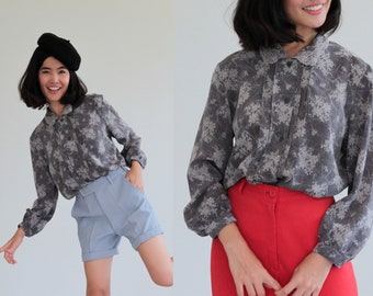 Floral  80s Lace peter pan collar design blouse long sleeves shirt 1980s button up blouse  Retro Vintage S/M/L