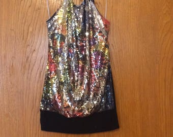 Body Central Womens Mutli Colored Sequin Halter Top