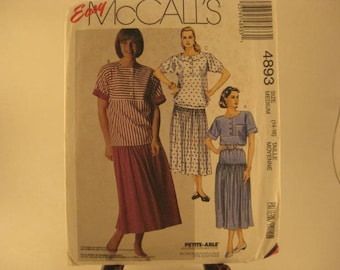 McCall's Easy Sewing Pattern 4893 sz Medium 14-16 Misses Petite-able Two Piece Dress for Knits Only [L28]