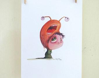 "original illustration ""Hat 14"" (oil on paper painting)"