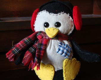 Cozy Felt Plush Penguin with Scarf and Earmuffs