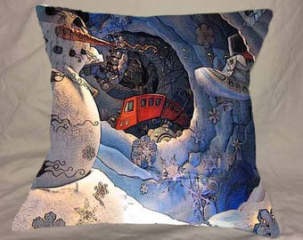 Christmas Photo Pillow Cover NYC Store Window Snowman Train white blue