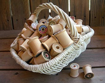 Vintage Wooden Sewing Thread Spools lot of 10 empty for crafting, sewing storage