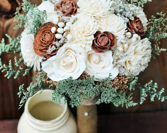 Winter wedding, winter bouquet, Wedding bouquet, Sola bouquet, wedding bouquet, cream bouquet