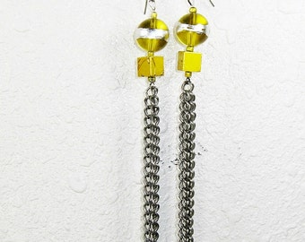 Long Earrings, Lemon Yellow, Silver and Gold, Silver Chains, Glass Beads, Square Beads, Yellow Gold,  Long, Dangle, Handmade