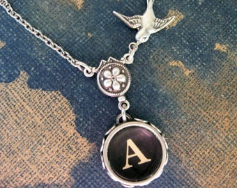 Typewriter Jewelry, Antique Typewriter Key Necklace Letter A with Bird, Typewriter Charm Necklace