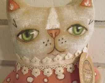 Cat Doll,Primitive Art Doll,Art Cushion Doll,Softie,Art Doll,Shabby Chic,Folk Art Doll,Folk Art Cat,Ornie,Whimsical,Cloth Doll,Animal Art