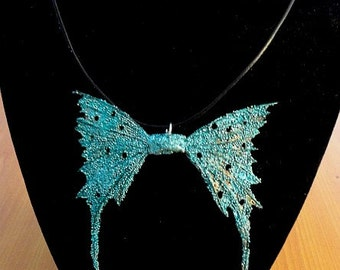 "Fairy Wings Necklace-Turquoise-OOAK 18"" Leather Cord"