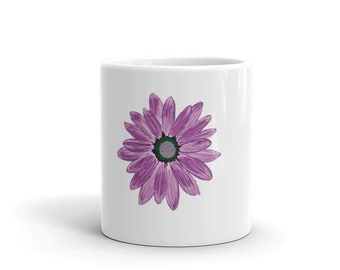 Cute Daisy Mug, Purple Daisy, Coffee Mug