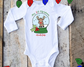 My First Christmas Onesies® For Girls, Personalized Christmas Onesie, Snow Globe Onesie, 1st Christmas Shirt, Personalized Baby Reindeer