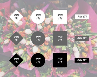 INSTANT DOWNLOAD - Pinterest Pin It Hover Button - Geometric Closed Shapes
