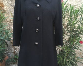 Stunning vintage of the 60's tailored black coat