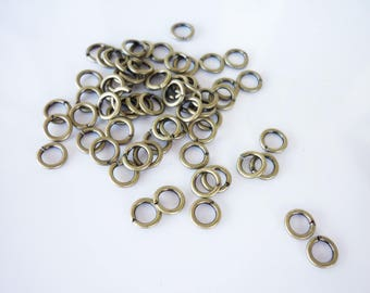 40 6mm antique brass jump rings