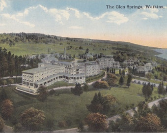 The Glen Springs Hotel- 1910s Antique Postcard- Watkins, New York- Finger Lake Country- Souvenir- C T Photochrom- Paper Ephemera