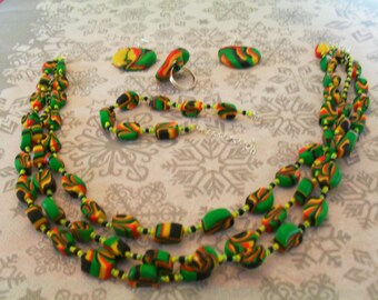 set (necklace, bracelet, ring and earrings) original, unique (black, red, yellow and green)