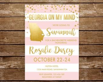 Savannah invitation Savannah bachelorette weekend Atlanta bridal shower invitation Georgia invitation printable Weekend Albany Columbus 251