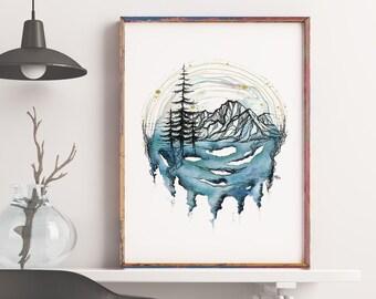Twilight - Mountain Art - Pacific Northwest Art - Print - Nature art - Watercolor Print