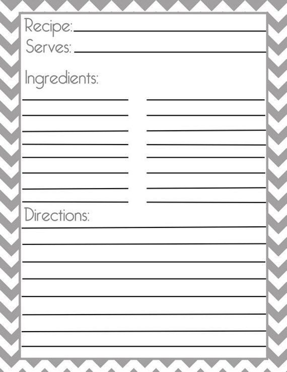 Chevron Gray Recipe Page And Filler Page From Pumpkinbeans On Etsy