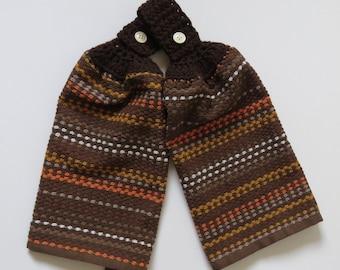 Chocolate Mocha Crochet Top Kitchen Hand Towel Set of 2