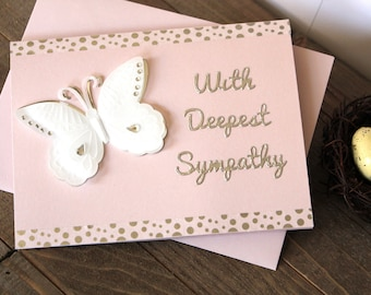 Handmade Sympathy Card, Condolences, White Butterfly, White Silver Pink, With Deepest Sympathy, Blank Inside, Free US Shipping