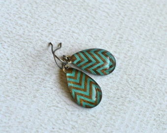 Glass Dangle Earrings- Teal and Brown Chevron Titanium Tear Drop Earrings- Made with Upcycled Paper- Chevron Short Dangle Earrings- OOAK