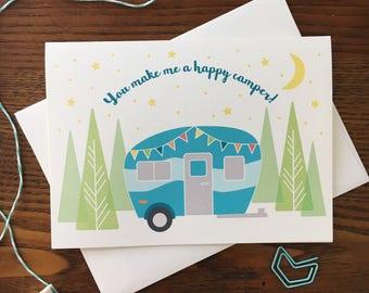 Happy Camper Card. Vintage Camper Card. Love Card. Camping Card. Anniversary Card. Vintage Caravan. Travel Card. Single Card. Blank Card.