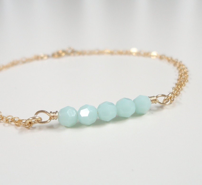 Mint Green Bracelet Simple Everyday Jewelry Dainty Gold
