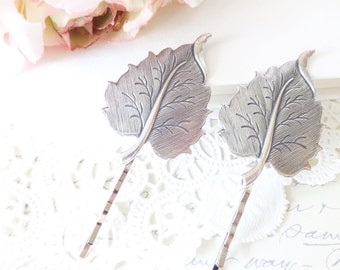 Sterling Silver Plated Leaf Hair Pin Set - Bobby Pin - Woodland Collection - Whimsical - Nature - Bridal