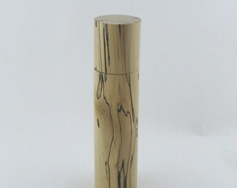 Spices and peppermill grinder in spalted Maple, Cylinder style with rod mechanisme  9.5 inch X 2 375 D, article no: 963