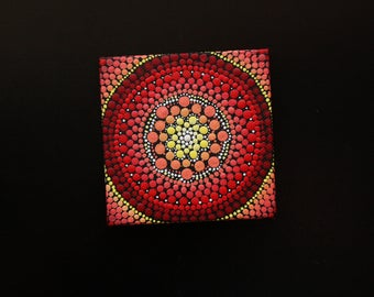 "Hand painted red and yellow mandala on canvas 3"" x 3"" dot pointillism art"