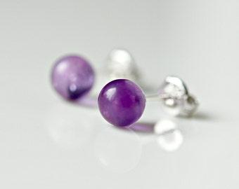 Amethyst earrings, tiny purple stud earrings, gift for women, 6mm ball studs, february birthstone, purple earrings, simple jewelry - Bibi