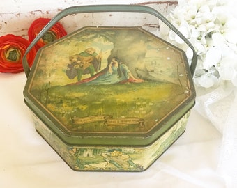 Antique Robin Hood decorative tin Box, Folk Fairytale, Maid Marian, Sherwood Forest, canister. Handle, Biscuit / tea tin kitchen, canister