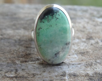 Natural African Transvaal Jade Sterling silver RING Size 6 - Natural Stone Ring - Handmade stone ring 6 - Jade Ring Size 6