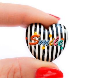 Polymer clay heart bead - black & white heart bead - smile caption heart bead (1)