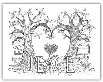 """2018 Mutual Theme Coloring Page 8.5""""x11"""" - Trees w/heart learn of me listen to my words have peace in me"""
