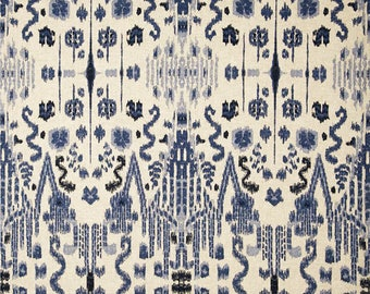 Indigo Blue Curtains Ikat Drapes Lacefield Designs Mumbai in Indian Blue, Lined Drapes, Custom Curtains