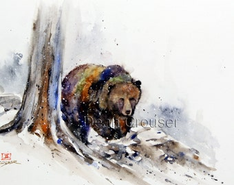 GRIZZLY Bear Watercolor Print by Dean Crouser