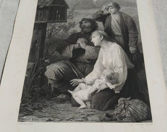 1873 A Shrine In Russia an etching by A. Yvon