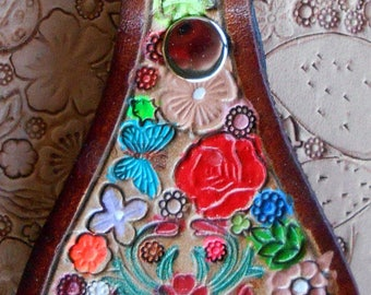 Leather Key Fob with Flowers and Bird  and  Brown Border