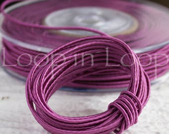 Purple Orchid SILK cord Wrapped Silk Satin Cord rope 1.5 mm thick organic natural hand spun silk polyester core for Jewelry (3 feet)