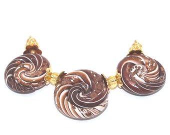 3- Coffee nautilus swirl polymer clay beads for DIY Jewelry making, unique hand rolled Ombre Striped millefirori beads